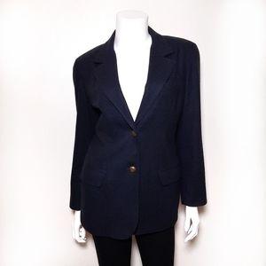 Liz Claiborne Petite Wool Navy Blue Blazer Jacket